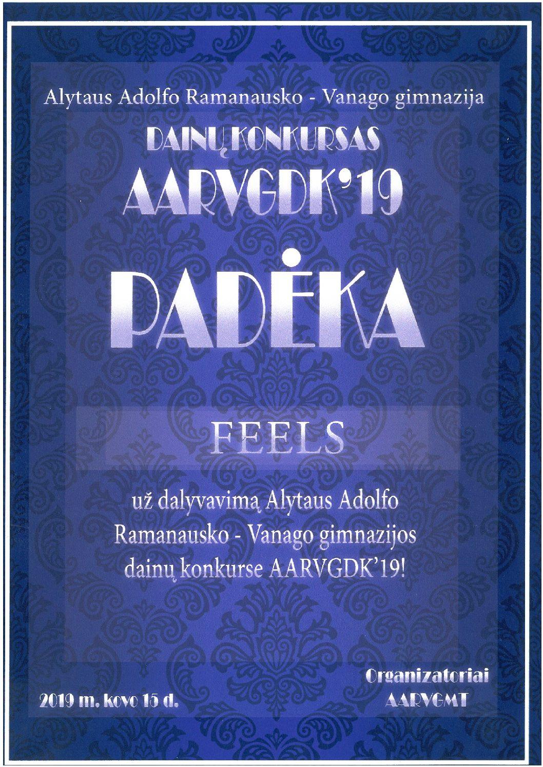 """Alytaus jaunimo centro lengvosios muzikos grupė """"Feels"""" konkurse """"AARVGDK"""" užėmė III vietą."""
