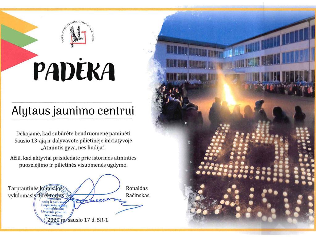 """Alytaus jaunimo centras tradiciškai dalyvavo akcijoje """"Atmintis gyva, nes liudija"""""""