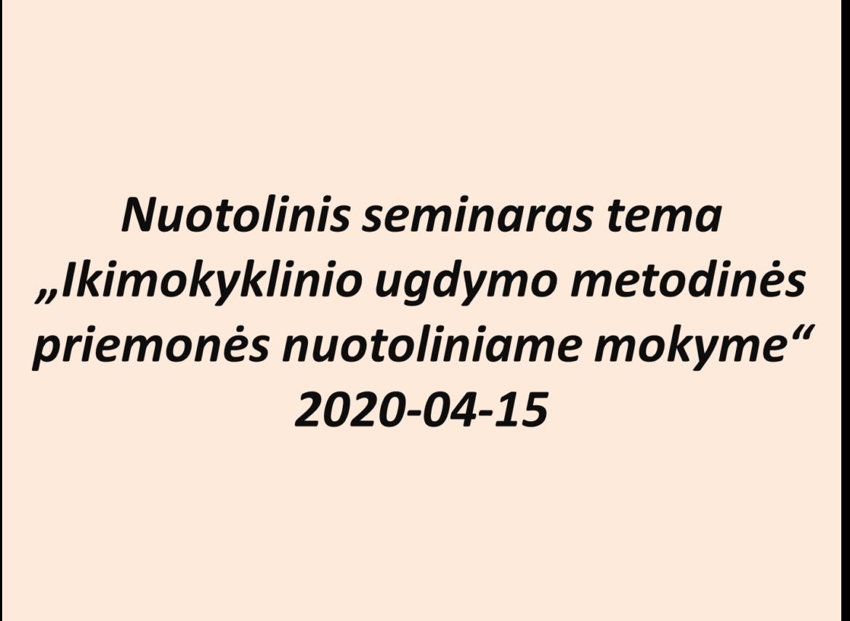 """Alytaus jaunimo centro mokytojos organizavo respublikinį nuotolinį seminarą """"Ikimokyklinio ugdymo metodinės priemonės nuotoliniame mokyme"""""""