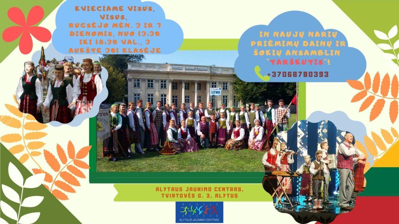 """Dainų ir šokių ansamblis """"Tarškutis"""" kviečia!"""